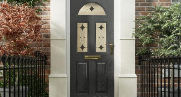 Dark grey composite door with white framing