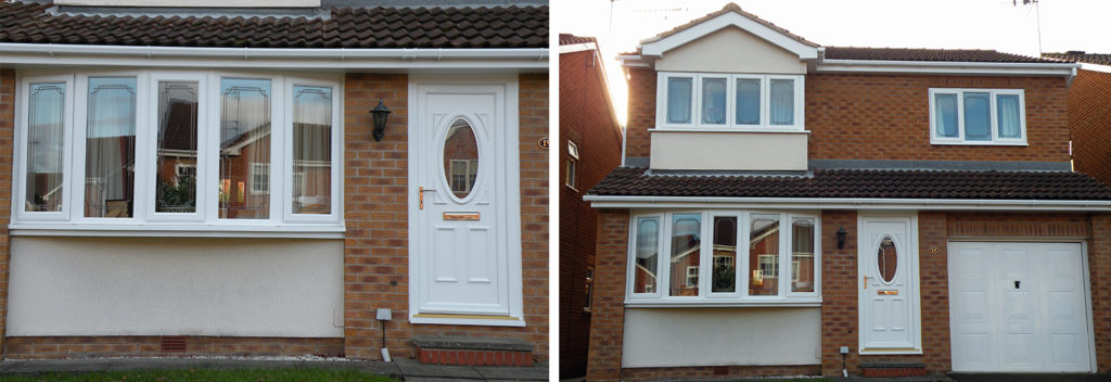 two images of a house with a full set of newly installed double glazed windows
