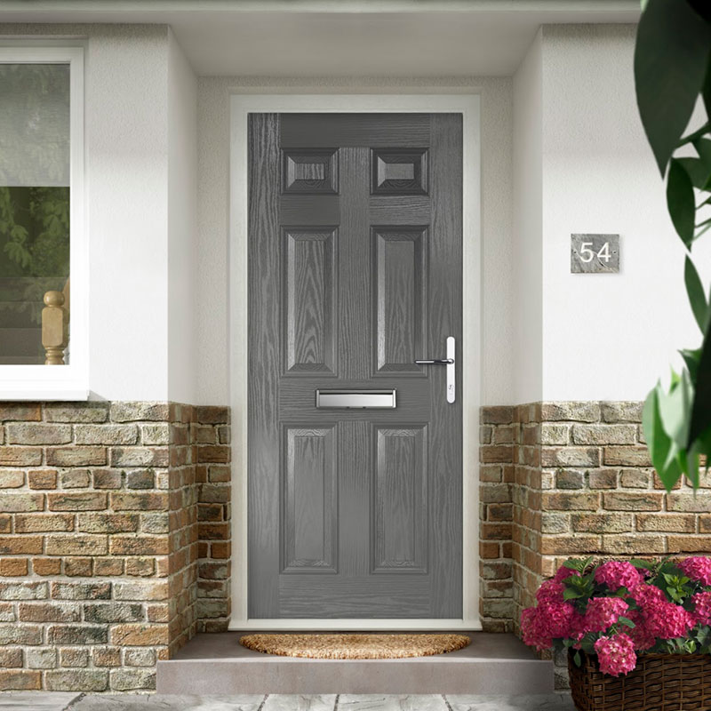 Grey solid composite door with no window