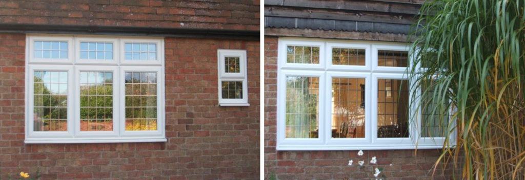 two images of new georgian windows