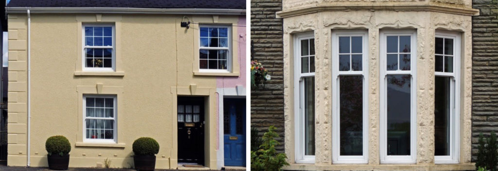 Two images of new sliding sash windows