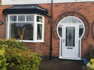 composite front door in white