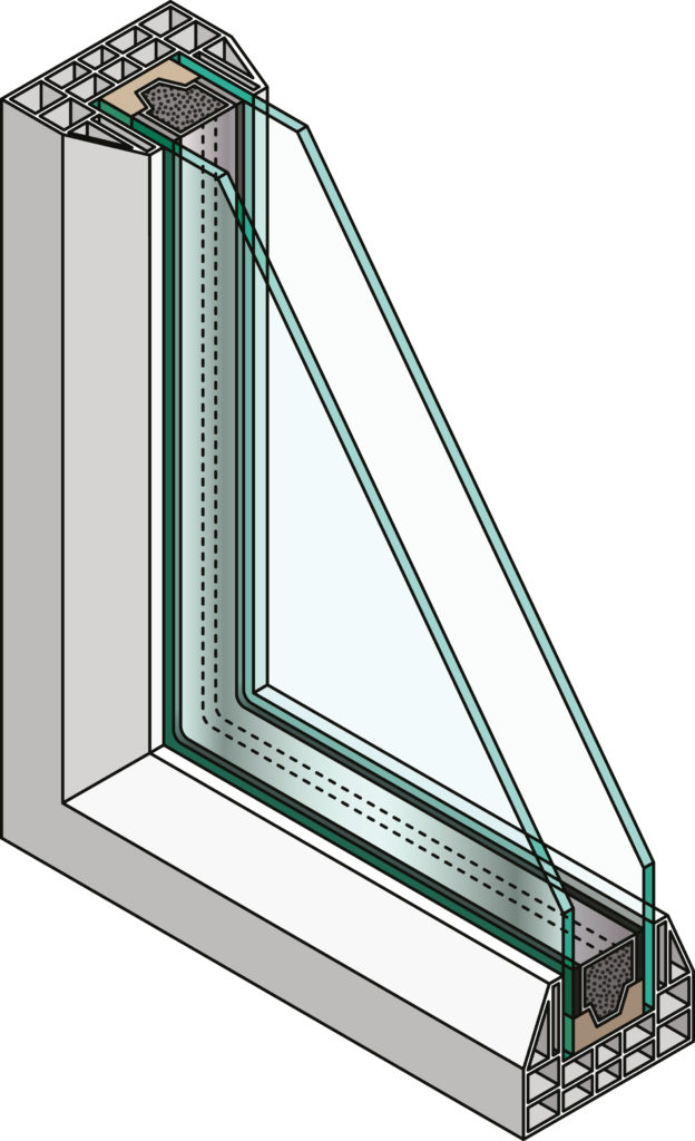 cross-section of the corner of a double-glazed window