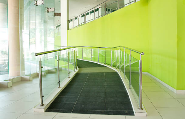 Interior access ramp in a large, commercial building