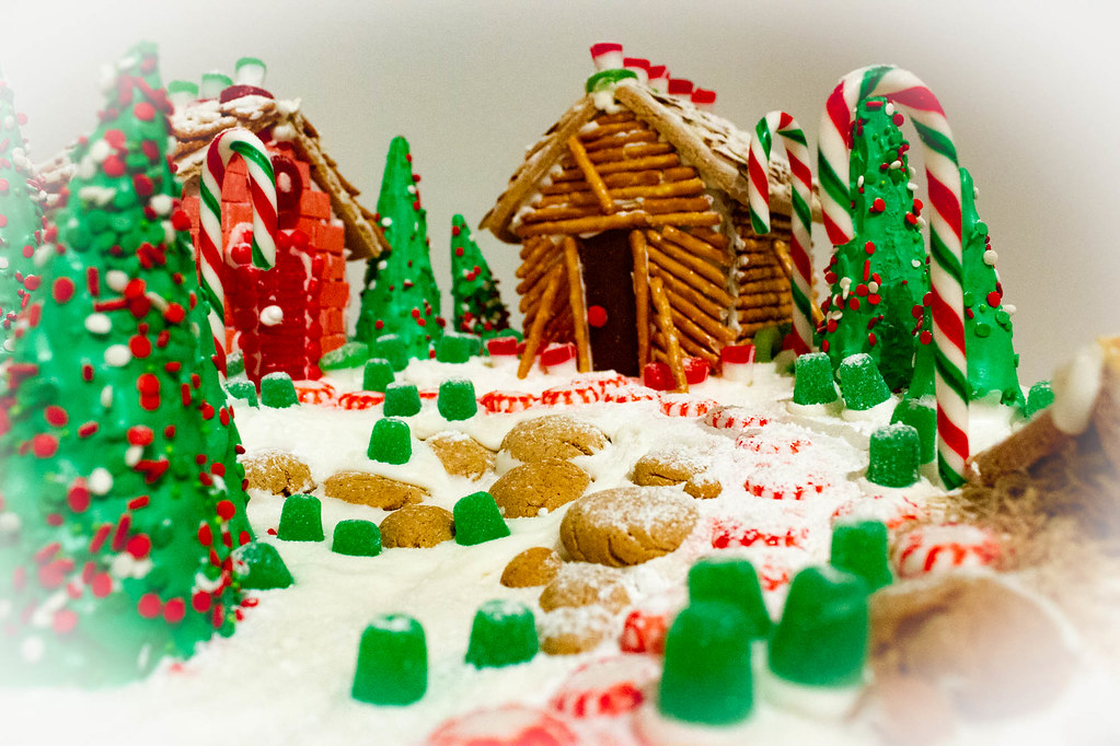 Beautiful edible garden containing biscuits and icing-covered trees.